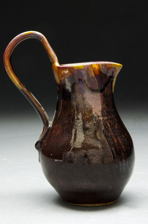 Oil spot Jug  Delicate mid-sized jug with a lovely oil spot finish. Red Stoneware reduction fired to cone 10  Available for purchase