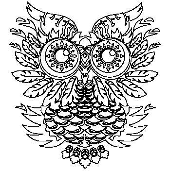 sova - motiv potisk, tričko omalovánka ( antistresová omalovánka) T-ART.CZ