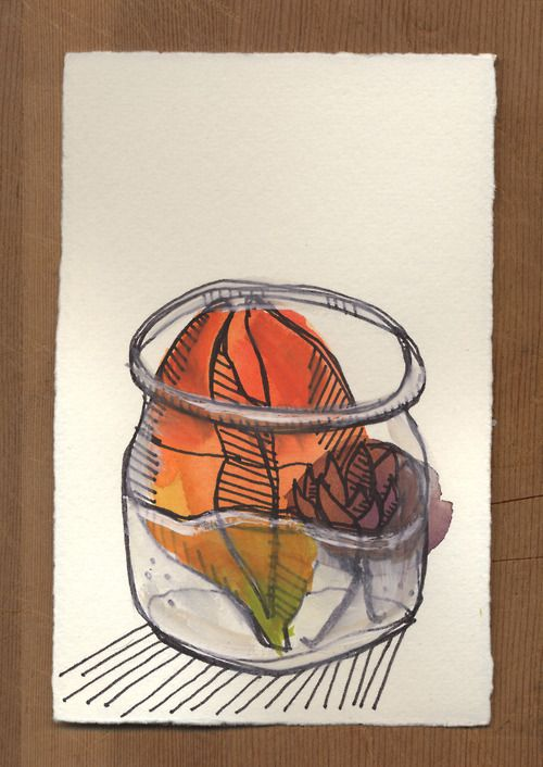 Flower Jar: Watercolor study  By Amy M Huber