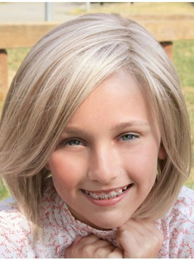 Youngsters Blonde Wigs, Straight Shoulder Size Blonde Artificial Lace Entrance Youngsters Wigs