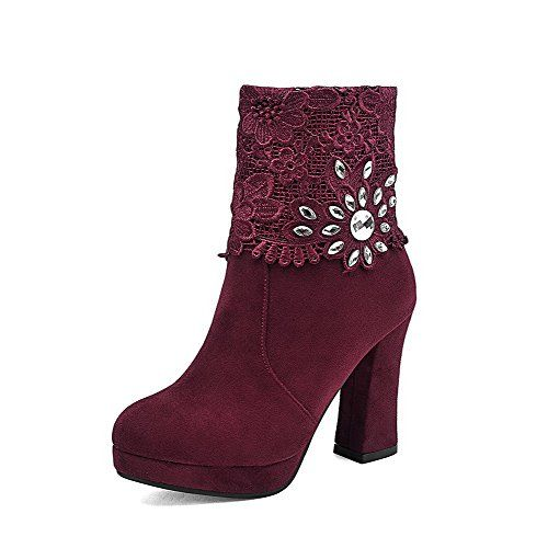 AalarDom Womens Zipper High Heels Imitated Suede Solid Low Top Boots Red 35  -- Check