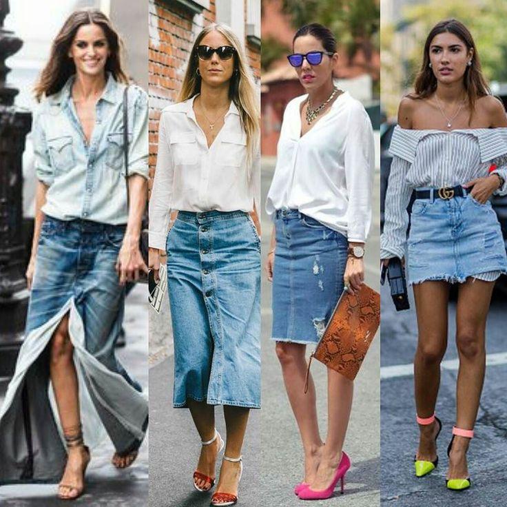 """La falda vaquera un """"must have"""" que no puede faltar en tu armario este verano!!!  #yestip: Es una prenda muy versátil fresca que nunca pasa de moda y con la que puedes crear infinidad de outfits. Recuerda: 1. Faldas largas y las de  largo mide ideales si eres alta sino utilízala con zapatos de tacón. 2. La falda estilo lápiz ideal  para resaltar tus curvas. Sin duda una de las prendas más femeninas. 3. La minifalda  por encima de la rodilla visualmente alargarán tus piernas. 4. Si creas  un…"""