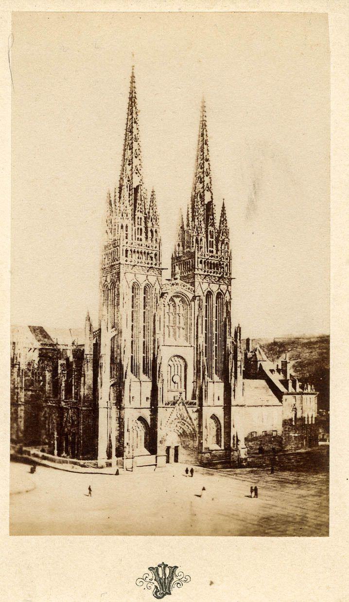 La Cathédrale De Quimper, Vue Par Villard Jeune (26 Ans) Vers 1865.
