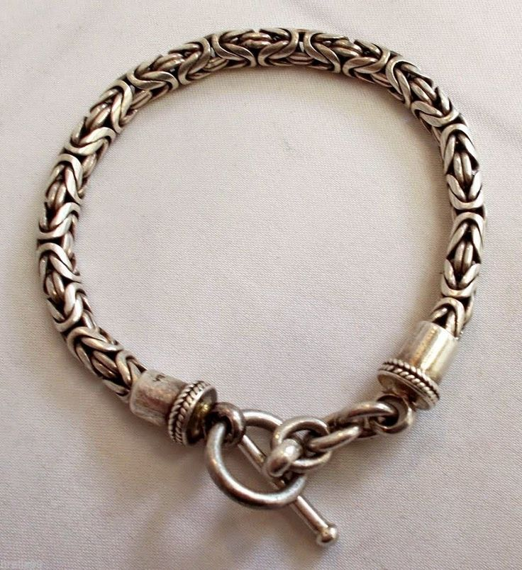 Metal Couture Heavy Sterling Silver Fob & Cable Chain Bracelet 4UzvO
