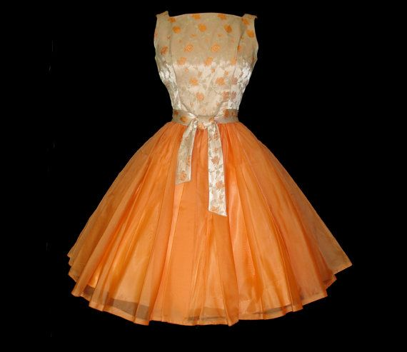 1950s Party Dress Couture Designer Dreamsicle by vintagediva60, $225.00
