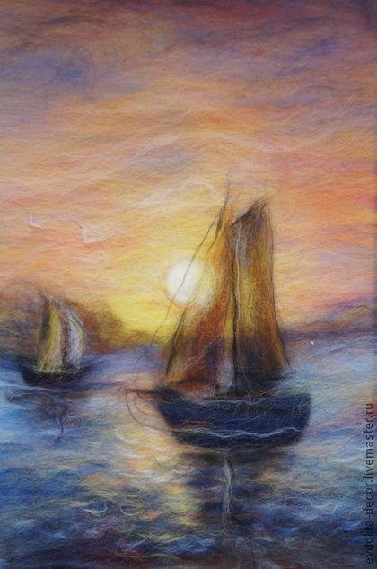 картина из шерсти. морской пейзаж.закат. - картина,картина в подарок,картина для интерьера