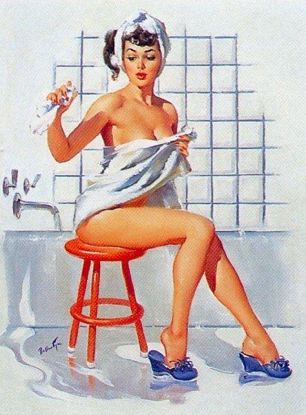 """A Stool Pigeon"" by Joyce Ballantyne, one of the few women pin up artists. She was often her own model."