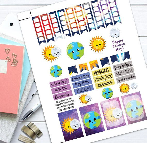 Eclipse Day Theme Planner Weekly Sticker Kit, Happy Planner Stickers, Printable Planner Stickers, Weekly Planner Sticker Set | Craft Supplies & Tools  Party & Gifting  Labels, Stickers & Tags  Stickers  Happy Planner  Weekly Stickers Set  Planner Stickers Weekly Planner Set  MAMBI  Printable Stickers  Planner Sticker Set  Themed Sticker Set  Stickers  Classic  Galaxy Sun and Moon