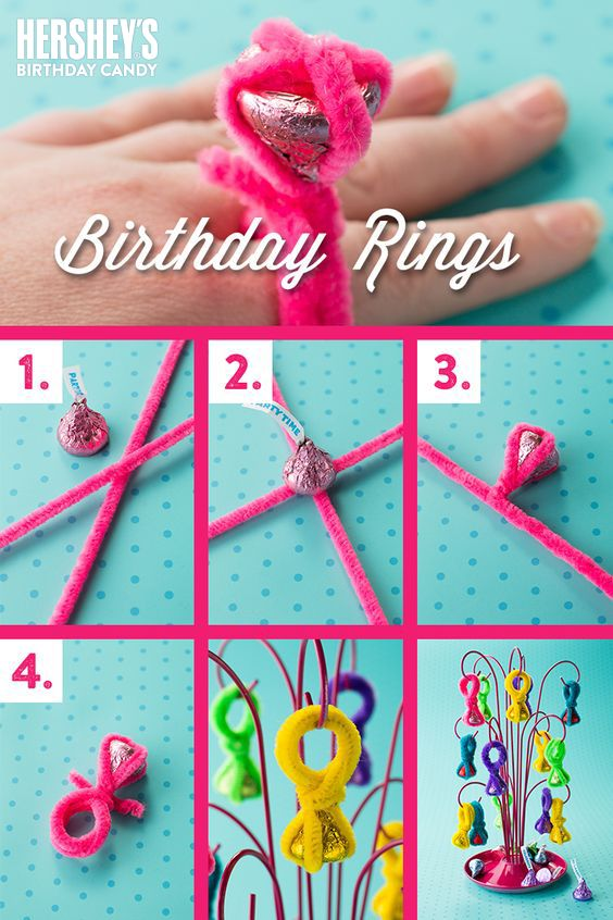 BIRTHDAY KISSES RINGS - Need the bling to go with your princess theme? Girls will go crazy for these rings, with a delicious treat when they're finished playing dress up. All you need are KISSES chocolates and a little imagination for this easy-to-make KISS-ational party favor! What you'll need: an assortment of HERSHEY'S Birthday colored KISSES chocolates and colored pipe cleaners to match Click to get the step-by-step, birthdaytastic how-to. Let's Birthday!