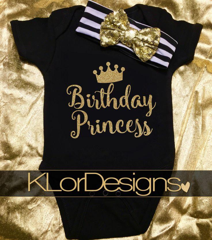BIRTHDAY Princess Onesie,  1st birthday outfit,Cake Smash onesie, black & gold glitter jumper, first birthday princess.  Gold Glitter onesie by KLorDesigns on Etsy https://www.etsy.com/listing/270260283/birthday-princess-onesie-1st-birthday