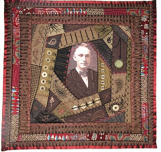 This PowerSuite quilt was the only entry done in a Crazy Quilt style. And it was created quilt artist Brian Haggard; the only man that entered the challenge. Brian is from Ohio and he had just published a book titled Crazy Quilted Memories. He approaches Crazy Quilts in a whole new, very creative way.