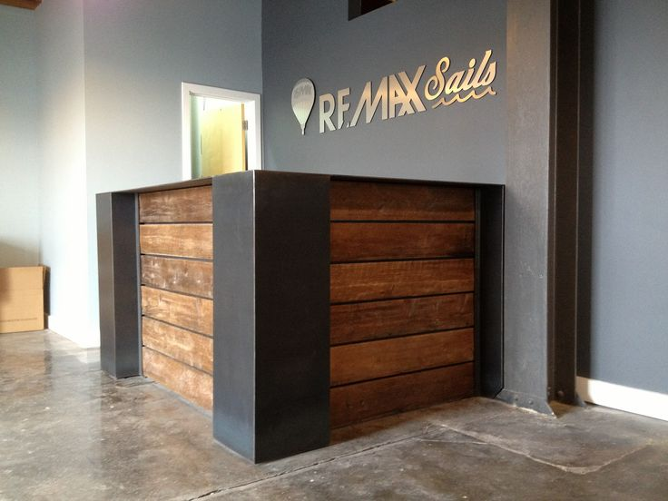 MMW reception desk, timber steel, sturdy, chunky, laser cut steel logo