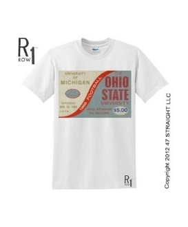 Ohio State vs. Michigan football shirt by ROW 1™ made from an authentic 1966 Ohio State football ticket. Perfect vintage college football shirt.