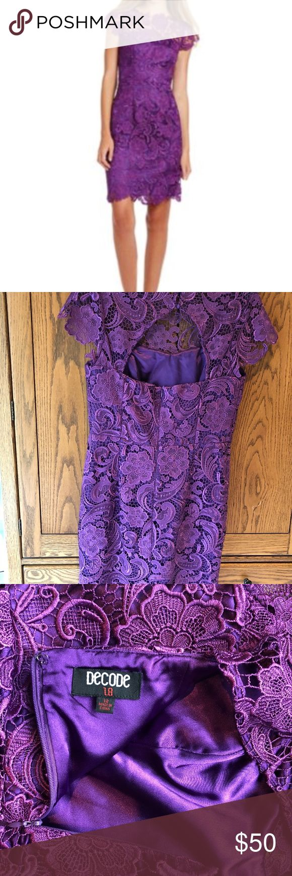 Decode 1.8 Floral Lace Sheath Dress Floral Lace Sheath Dress. Lace is plum/purple. Solid underlay is plum/purple. Size 12. Worn once as a Bridesmaids dress. Great condition. Sold by Dillards Decode 1.8 Dresses