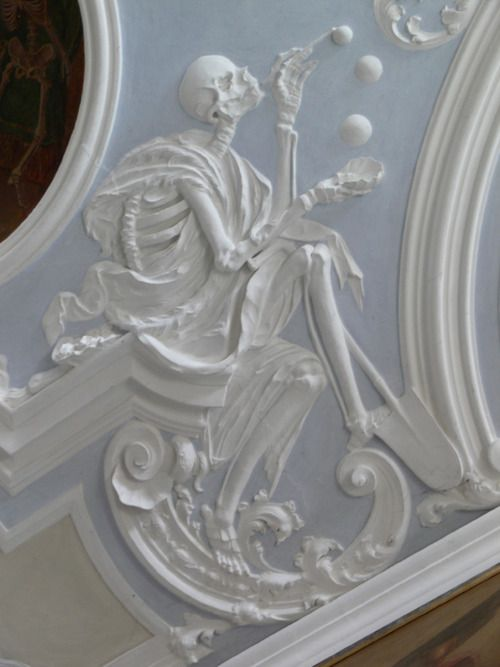 Death and Soap Bubbles, stucco relief, 18th century. Holy Sepulcher Chapel, Michelsberg Cloister, Bamberg