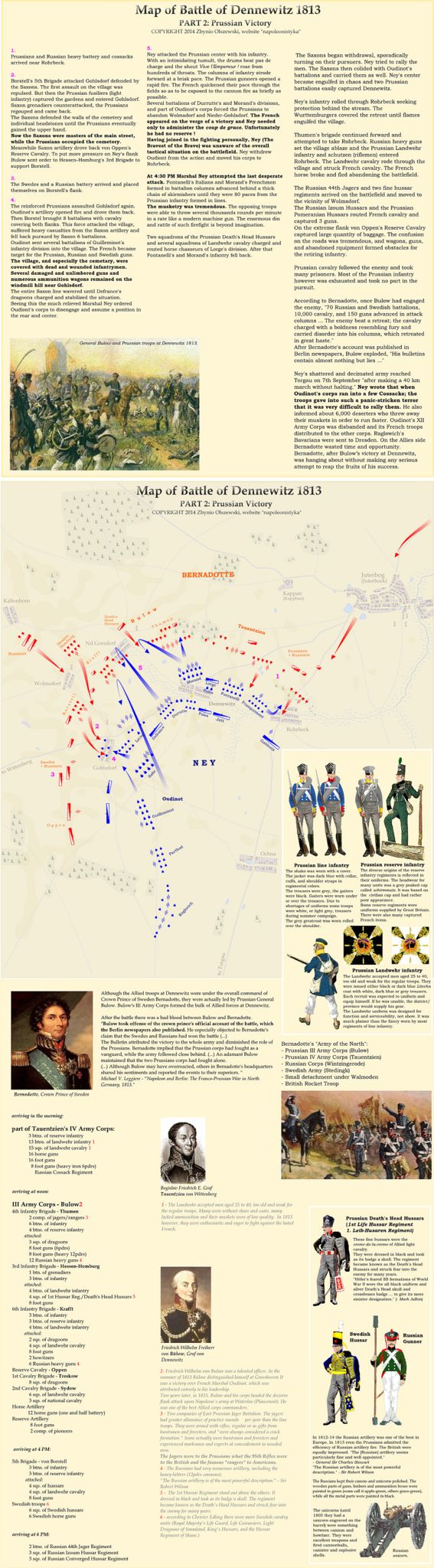 Battle of Dennewitz 1813 (click the link to read it better https://www.flickr.com/photos/lakota_sioux_and_comanche_indians/15469681283/sizes/o/)