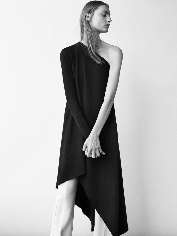 Sleek black dress with asymmetric cut; minimal fashion; minimalist style // Narciso Rodriguez Resort 2017