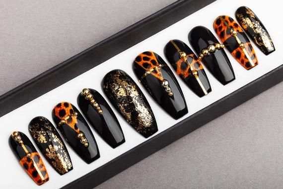Leopard Press On Nails With Golden Foil Hand Painted Nail Etsy Glue On Nails Press On Nails Fake Nails