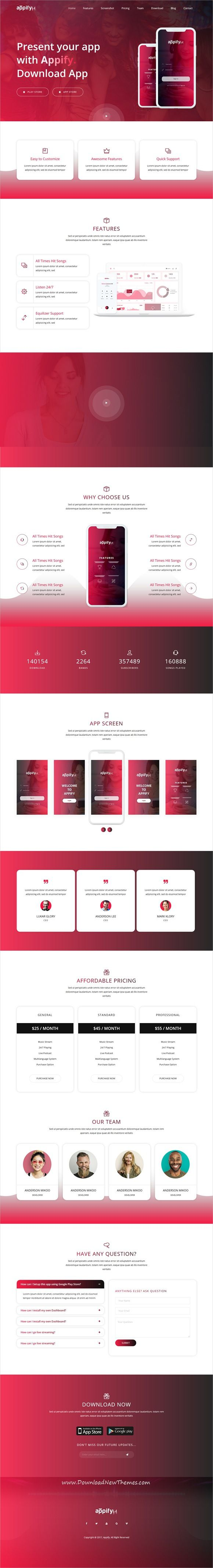 Appify is clean and modern design 2in1 responsive #HTML template for creative #app landing page website download now