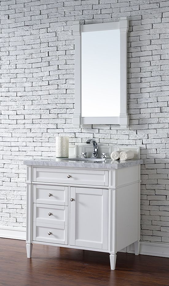 James Martin Brittany (single) 36-Inch Cottage White Transitional Bathroom Vanity With Top Options