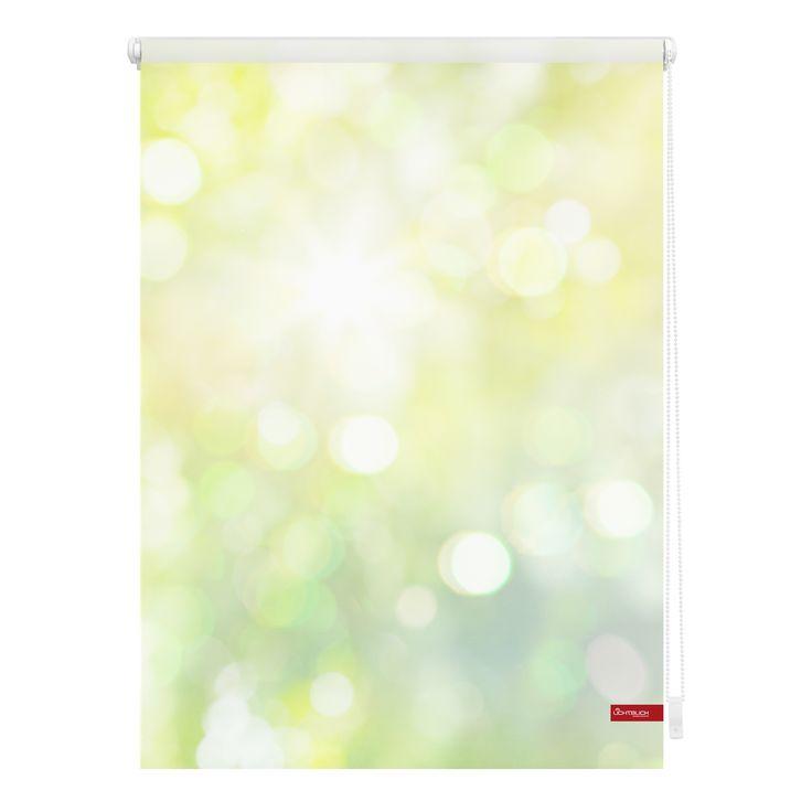 Nice Klemmfix Rollo mit Motiv ueBokeh gr n uc online kaufen Fotodruck individuelles Design mit eigenem Bild Montage ohne bohren schnelle Lieferung