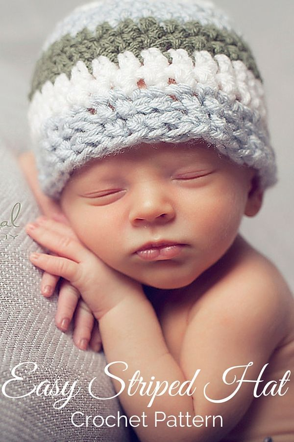 Free crochet pattern - easy striped hat. Perfect for anyone, and includes all sizes newborn to adult! By Posh Patterns.