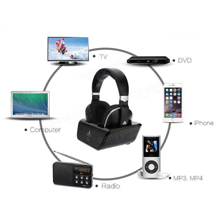 Artiste ADH300 2.4G HiFi Stereo Wireless TV Headphonee With Digital Output Converter For PC TV