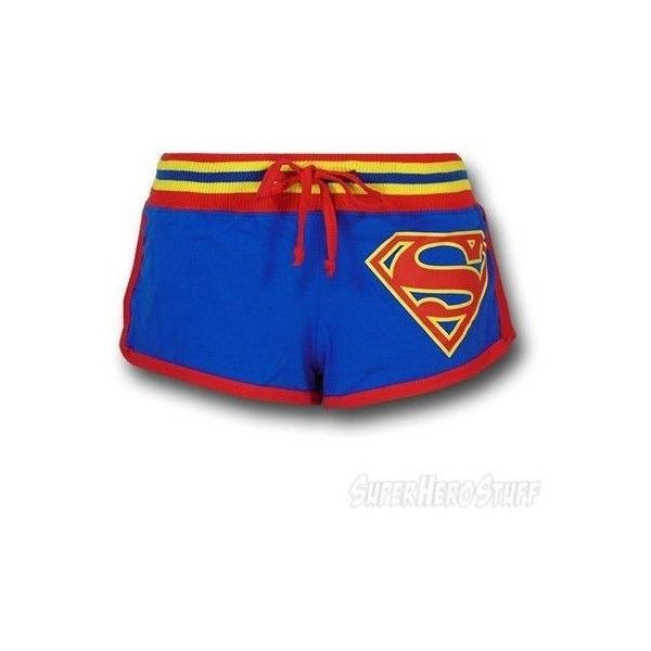 Superman Women's Striped Logo Short Shorts ❤ liked on Polyvore featuring shorts, mini short shorts, superman shorts, mini shorts, micro shorts and striped shorts