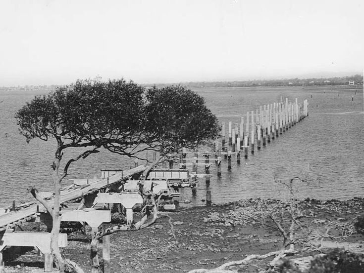 Picture of / about 'Redcliffe' Queensland - Progress on the Hornibrook Highway viaduct, Redcliffe, 1933