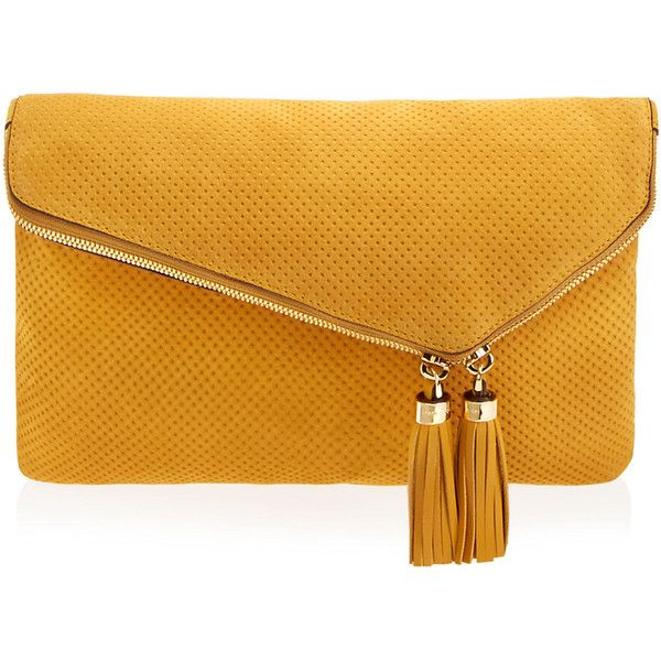 Henri Bendel Debutante Perforated Convertible Clutch ($179) ❤ liked on Polyvore featuring bags, handbags, clutches, bags/clutches, dk yellow, chain handbags, henri bendel purses, perforated handbag, suede handbags and henri bendel handbags