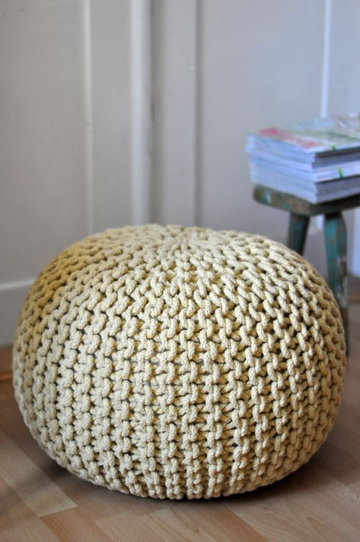 Yellow hand knitted floor cushion