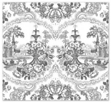 Mineheart's Delft Baroque Wallpaper - Black & White - patternsnap blog 'Rockin' the Renaissance with Mineheart'