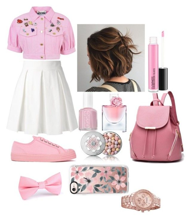 """Untitled #41"" by valentina-carvajal92005 on Polyvore featuring Essie, Moschino, Novesta, Boutique Moschino, Lancôme, Guerlain and Casetify"