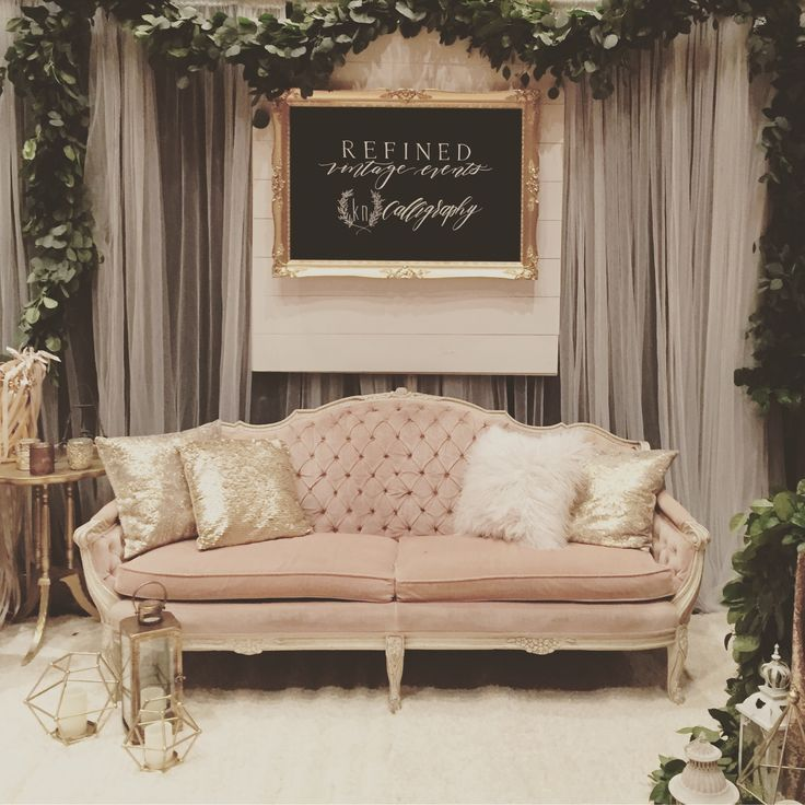 Vintage rentals for hire! Rent an amazing couch for your event! Wedding expo booth.  www.refinedvintageevents.com