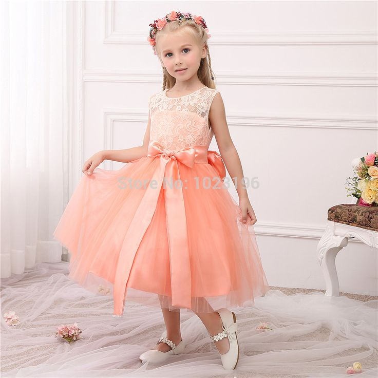 Find More Flower Girl Dresses Information about 2016 Hot Real Princess Peach Lace Tulle Flower Girl Dresses Sash Tea Length Infant Little Girl Birthday Party Dresses,High Quality party dress children,China party dresses uk Suppliers, Cheap party dresses for pregnant women from VougeMarket on Aliexpress.com
