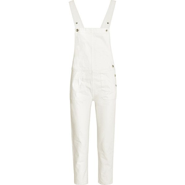 M.i.h Jeans - Cylla Denim Overalls ($158) ❤ liked on Polyvore featuring jumpsuits, white, white denim overalls, white overalls, overalls jumpsuit, white jumpsuit and denim overalls