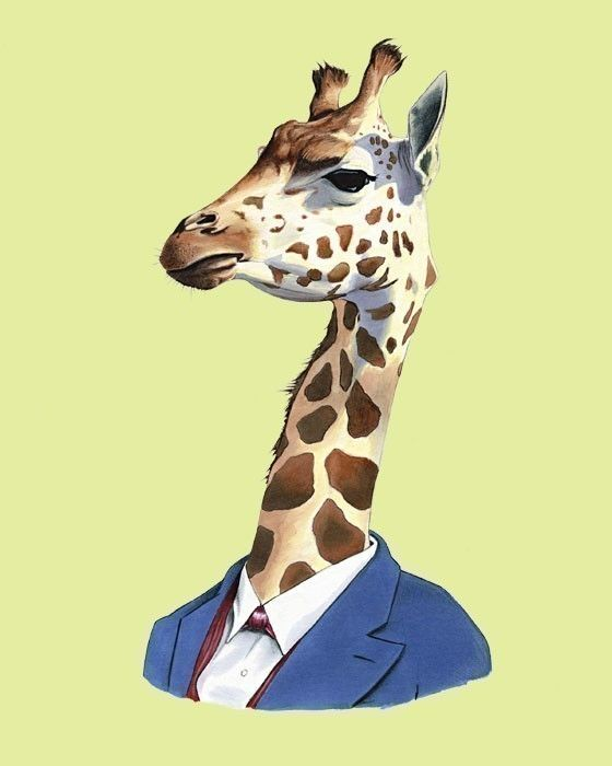 Art de la girafe - art animalier - art impression - pépinière moderne art - animaux en vêtements - childrens art - Ryan Berkley Illustration 8 x 10