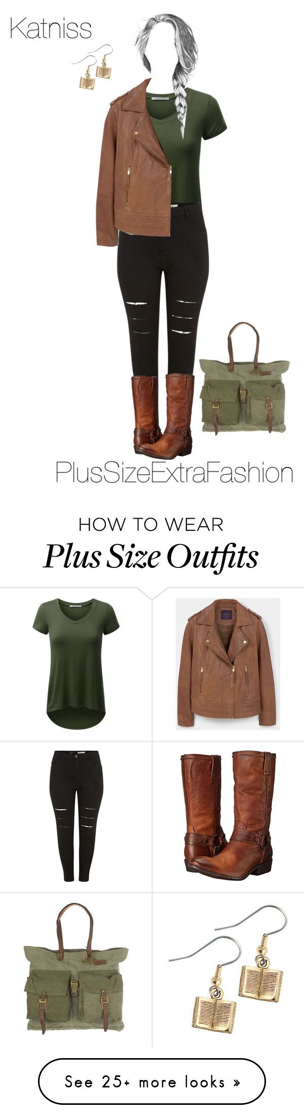 """Katniss Inspired Plus Size Outfit"" by plussizeextrafashion on Polyvore featuring MANGO, Frye, GE, Will Leather Goods, katniss, THG, plussize and plussizeextrafashion"