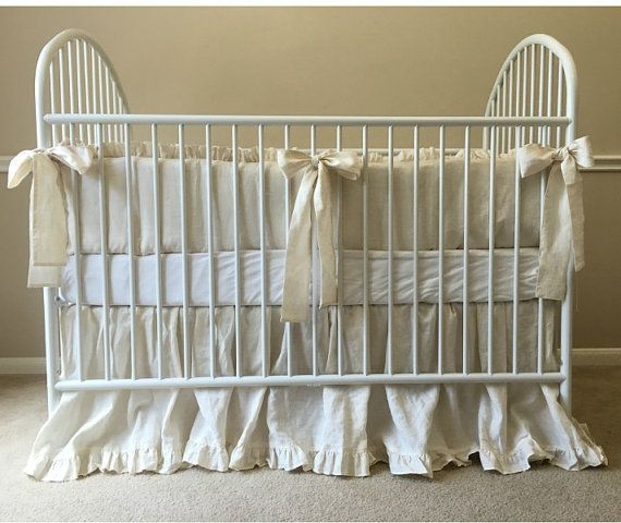 Linen Crib Bedding, Neutral Baby Bedding Set - Ruffled Cream Baby Bedding set…