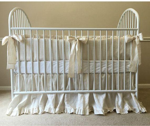 Linen Crib Bedding, Neutral Baby Bedding Set - Ruffled Cream Baby Bedding set…