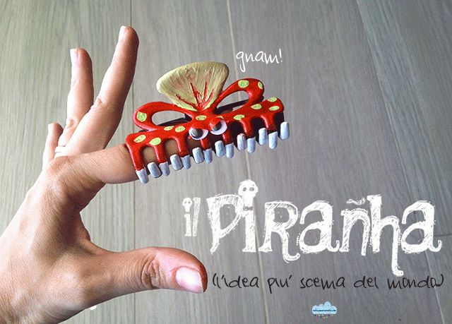 Piccolo gioco fai-da-te: il piranha!  Recycling an hair clip: a little silly D.I.Y toy (italian blog)