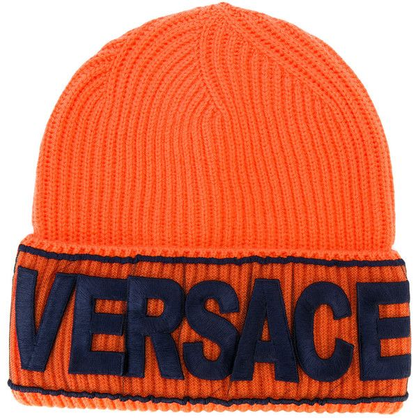 Versace Logo manifesto beanie ($250) ❤ liked on Polyvore featuring accessories, hats, beanie, beanie cap hat, versace, beanie caps, logo hats and embroidered beanie hats