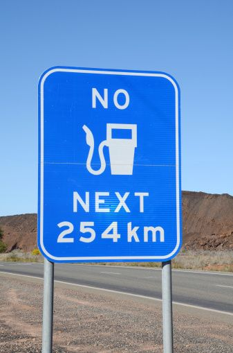 Fuel warning sign outside of Cobar - NSW