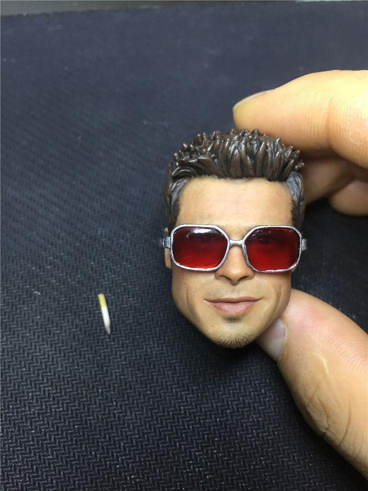 Custom 1/6 Scale Brad Pitt Furry Head Sculpt Fight Club With Glasses + Cigarette #Custom