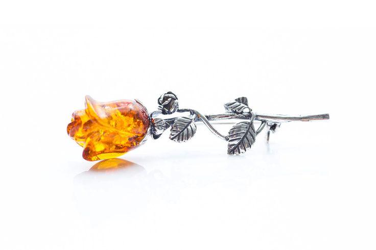 Rose Brooch, Amber Rose Brooch, Silver Rose Brooch, Amber & Silver Pin, Amber Pin, Rose Pin, Flower pin, flower brooch, baltic amber jewelry by BalticBeauty925 on Etsy