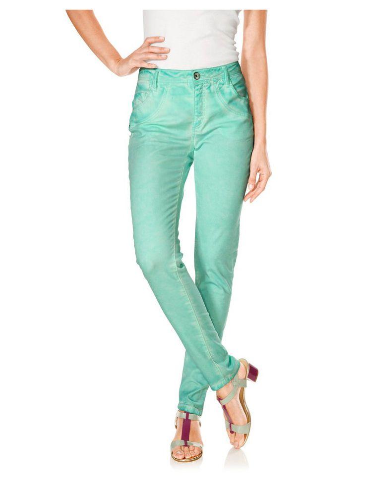 Jean stretch style décontracté, couleur vert menthe