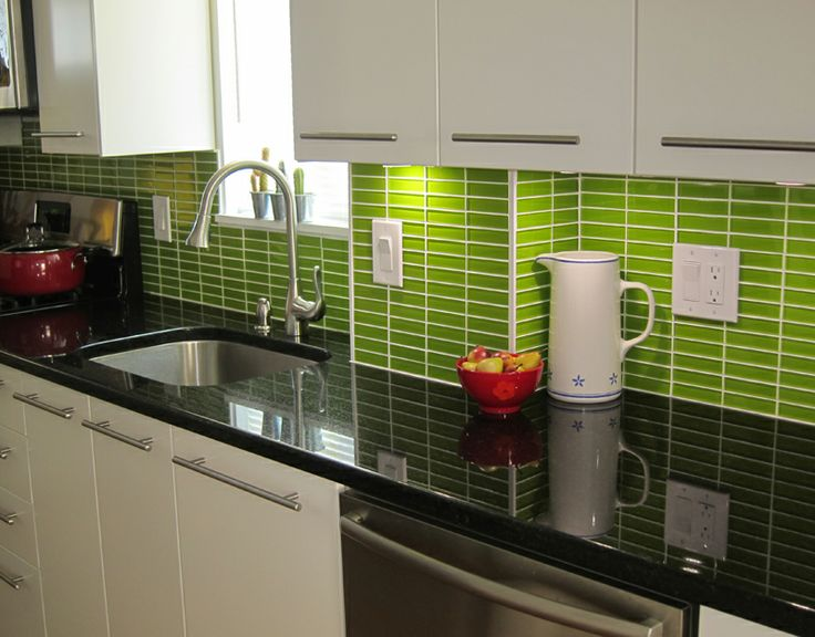 Eye Catching Glass Subway Tile Green Color Backsplash With Black Granite  Countertops Also Sinle Sink Wit Stainless Faucet Also White Floating  Kitchen ...