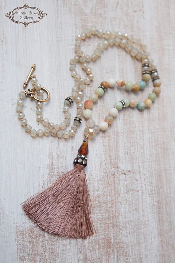 Silk Tassel Necklace, Boho Chic Necklace, Bohemian Necklace, Statement Necklace, Christmas Gift, Amazonite. A Unique , beautiful, hand knotted long Tassel Necklace . Features antique rhinestones, ivory - beige opalescent crystal beads , Amazonite and aquamarine
