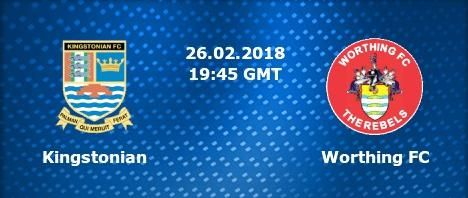 (adsbygoogle = window.adsbygoogle || ).push({});  Watch Kingstonian vs Worthing Live Football Stream  Live match information for : Worthing Kingstonian English Isthmian Premier Live Game Streaming on 26 February 2018.  This Football match up featuring Kingstonian vs Worthing is scheduled to commence at 19:45 UK 01:15 IST. You can follow this match inbetween Worthing and Kingstonian  Right Here.   #Kingstonian201826February2018 #Kingstonian2018GameLive #Kingstonian2018Soccer