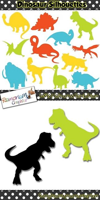 Dinosaur clip art set containing the silhouettes of 12 different dinosaurs  I have included some of the most popular dinosaurs that children love.